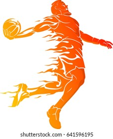 Basketball Dunk Bearded Player in Hot Flame