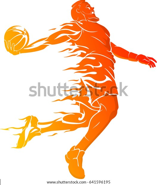 Basketball Dunk Bearded Player Hot Flame Stock Vector
