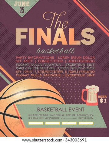 basketball event flyer poster template geometric stock vector