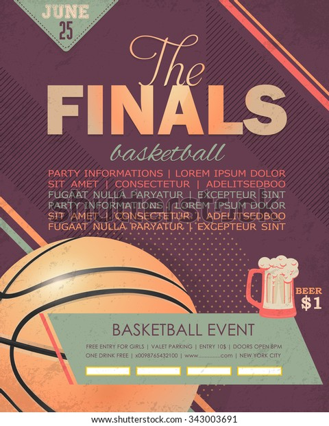 Basketball Event Flyer, Poster Template Geometric Background Design