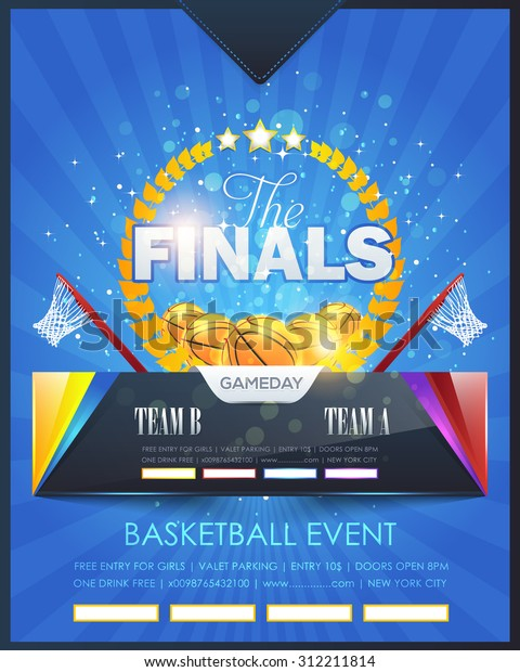 Basketball Event Poster Template Vector Design Stock Vector (Royalty