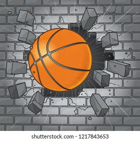 Basketball Exploding Through Brick Wall