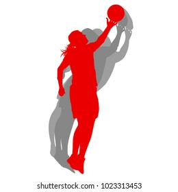Basketball female silhouette vector background concept in red isolated on white