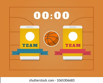 Basketball field, ball, scoreboard and smartphone with teams. Basketball online concept. Vector illustration.