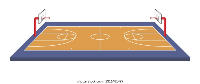 Basketball field isometric vector illustration on white