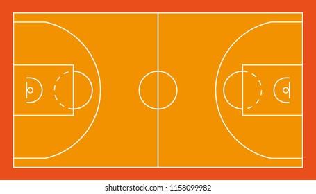 Basketball field. Original proportions. Vector Illustration