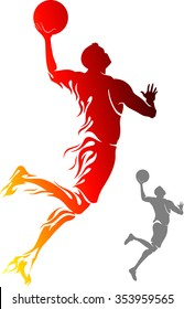 Basketball Flame Dunk-Flame trail basketball player silhouette leaping for points