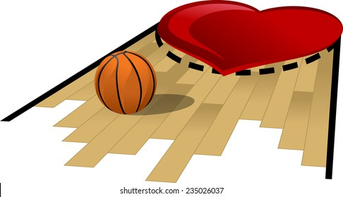 basketball free throw lane painted with a heart.