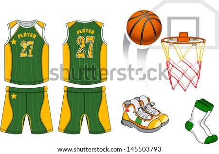 1f453dc3752e Basketball Game Equipment Set Stock Vector (Royalty Free) 145503793 ...