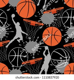 Basketball game seamless pattern. Sports abstract background