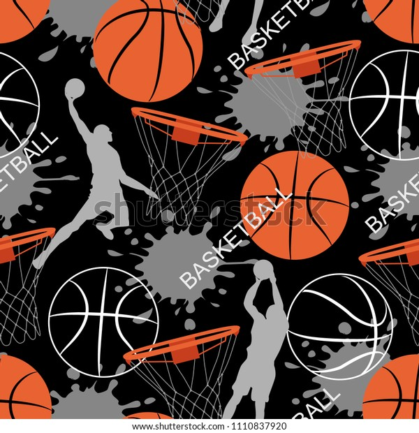 Basketball game seamless pattern. Sports abstract background. Basket balls texture. Seamless sport pattern with balls. Creative grunge design of sport. Sport vector