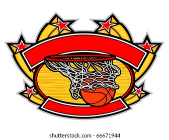 A basketball going through a hoop with a banner arching over the top and under the bottom.