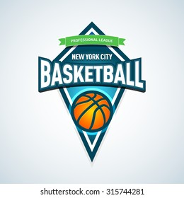 Basketball golden logo template, basketball logotype, badge logo design template, sport logotype template. Basketball Themed T shirt template. Vector illustration.