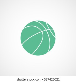 Basketball Green Flat Icon On White Background