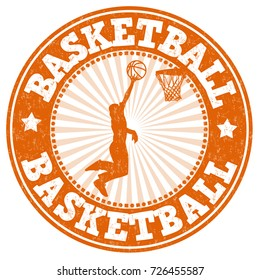 Basketball grunge rubber stamp on white background, vector illustration