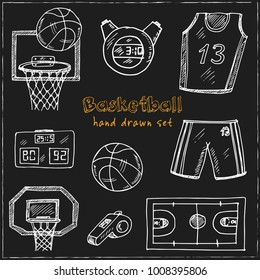 Basketball Hand drawn doodle set. Vector illustration. Isolated elements on blackboardbackground. Symbol collection.