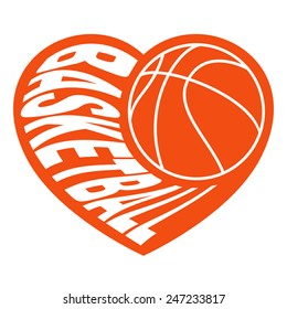 basketball in heart 2 / Vector illustration isolated on white background for sports design.