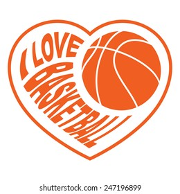 basketball in heart 4 /   Vector illustration isolated on white background for sports design.