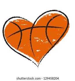 Basketball heart /  Vector illustration, isolated on white background