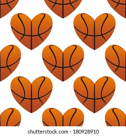 Basketball hearts in a seamless pattern in square format suitable for sports design