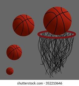 basketball hoop and ball