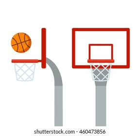 Basketball hoop and ball, front and side view. Flat cartoon vector isolated illustration.