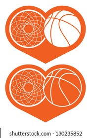 Basketball hoop  and ball in heart / Basketball icon in two various of the coloring, the stylized image of a basket and a ball in heart. The vector illustration, isolated on a white background.