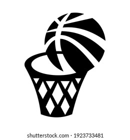 Basketball and hoop icon isolated vector illustration. High quality black style vector icons