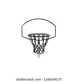 Basketball hoop and net hand drawn outline doodle icon. Basketball equipment, game goal, recreation concept. Vector sketch illustration for print, web, mobile and infographics on white background.