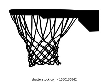 Basketball hoop and net vector silhouette isolated on white background. Equipment for basket ball court. Play sport game.