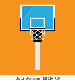 Basketball hoop on backboard icon.Net with round circle. Basket with ring flat. Vector illustration on orange background.
