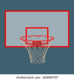 Basketball hoop on backboard isolated. Net with round circle, equipment of sport gym. Sportive basket with ring vector illustration in flat style
