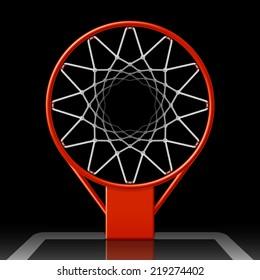 Basketball hoop on black, top view. Vector illustration.