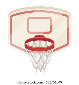 Basketball hoop sports equipment. Basketball uses a basketball ring in the game. Basketball ring on the shield.single icon in cartoon style vector symbol stock illustration web.