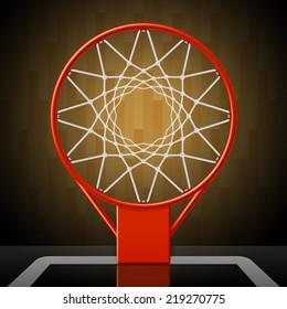 Basketball hoop, top view. Vector illustration.
