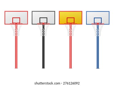 Basketball hoops set. Isolated on white. Vector EPS10 illustration.