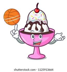 With basketball ice cream sundae character cartoon