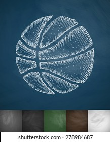 basketball icon. Hand drawn vector illustration. Chalkboard Design