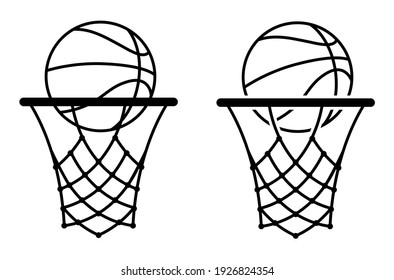 basketball icon with ring, hoop and net. Sports competitions in basketball on street and in gym. Vector