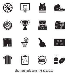 Basketball Icons. Black Flat Design. Vector Illustration.