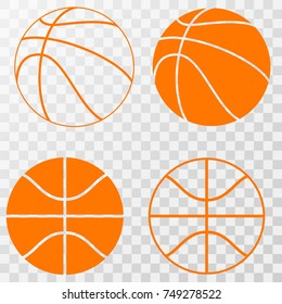 basketball icons set. Vector on transparent background