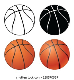 Basketball is an illustration of a Basketball in four versions ranging from a simple black and white to a complex full color.