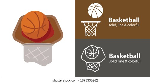 basketball isolated vector flat icon with sport solid, line icons