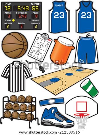 0179d0b17954 Basketball Items Equipment Used Sport Basketball Stock Vector ...