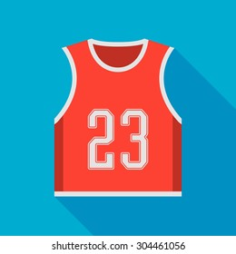 basketball jersey icon with long shadow. flat style vector illustration