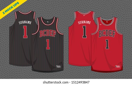 basketball jersey mockup template vector design