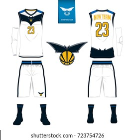 Basketball jersey, shorts, socks template for basketball club. Front and back view sport uniform. Tank top t-shirt mock up with basketball flat logo design on label. Vector Illustration.