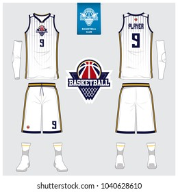 Basketball jersey or sport uniform, shorts, socks template for basketball club. Front and back view sport t-shirt design. Tank top t-shirt mock up with basketball flat logo design. Vector Illustration