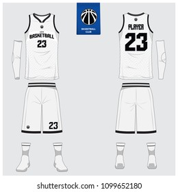Basketball jersey or sport uniform template design for basketball club. Front and back view sport t-shirt design. Tank top t-shirt mock up with basketball flat logo design. Vector Illustration.