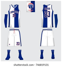 Basketball jersey template design. Blue and White Tank top t-shirt mockup for basketball club. Front view and back view sport uniform. Vector Illustration.